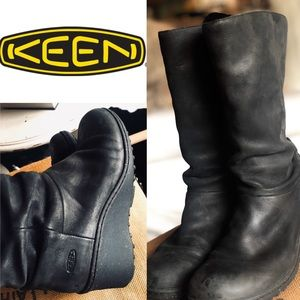 KEEN AKITA BLACK LEATHER BOOTS WATER RESISTANT 7.5